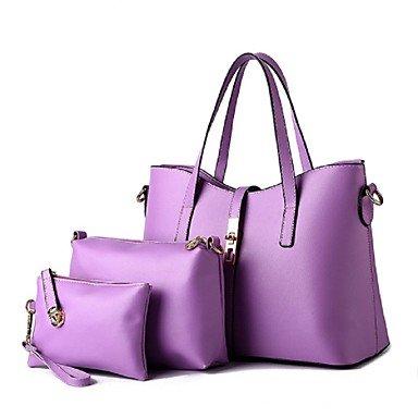 La moda femenina sólida de cuero pu Bolso Messenger/Tote,negro Lavender