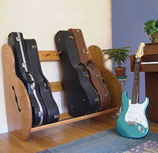 Charming Standard Single Guitar Case Storage Rack Red Oak Stain