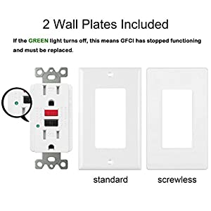 [5 Pack] BESTTEN 15Amp 125Volt Tamper-Resistant GFCI Receptacle Outlet, LED Indicator, 2 Types Wall Plates and Screws Included, ETL Certified, White