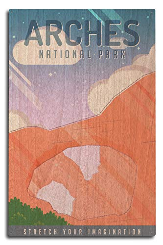 Lantern Press Arches National Park. Utah - Double Arch - Pop Sky 95195 (10x15 Wood Wall Sign, Wall Decor Ready to Hang)