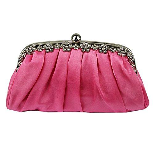 Bolso de embrague para mujer, diseño cristal Pink Satin Clutch