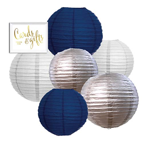 Andaz Press Navy Blue, Silver, White Hanging Paper Lanterns Decorative Kit, 6-Pack with Free Gifts Table Party Sign, Starry Night, Airplanes, Ocean, Midnight in Paris, Twinkle Twinkle Little Star for $<!--$13.99-->