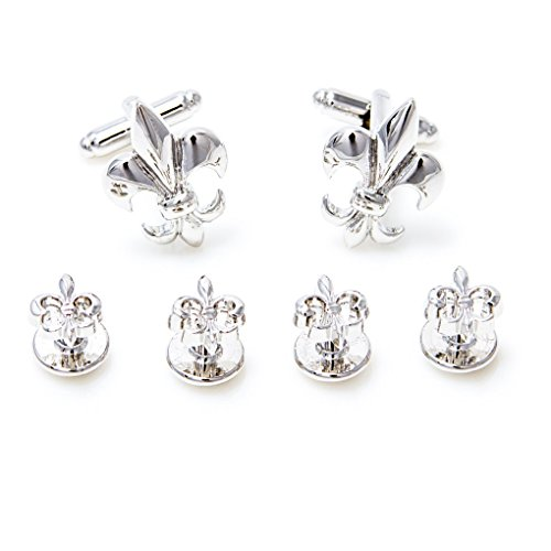 MRCUFF Fleur De Lis Pair Tuxedo Cufflinks and Studs Set in a Presentation Gift Box & Polishing Cloth ... (Fleur Studs)