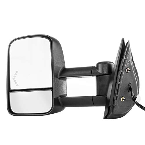 Driver Side Towing Mirror for Chevy Silverado GMC Sierra 1500 2500 3500 HD (2007 2008 2009 2010 2011 2012 2013 2014) Textured Telescopic Folding Heated Left Door Mirror with Signal Light
