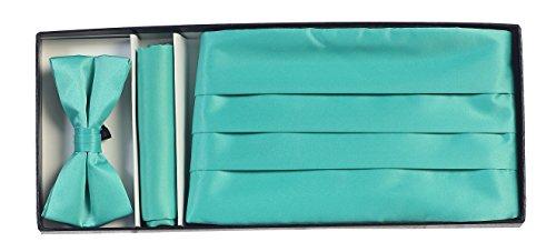 Gioberti Kids/Boys' Adjustable Satin Cummerbund Set With Formal Bow Tie and Pocket Square, Mint