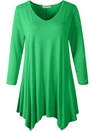 LARACE Womens V-Neck Plain Swing Tunic Top Casual T Shirt(1X, Spring Green) - Kimono Sleeve V-neck Tunic