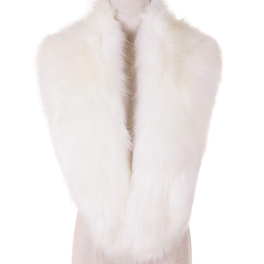 Dikoaina Extra Large Women's Faux Fur Collar for Winter Coat,White,120cm by Dikoaina