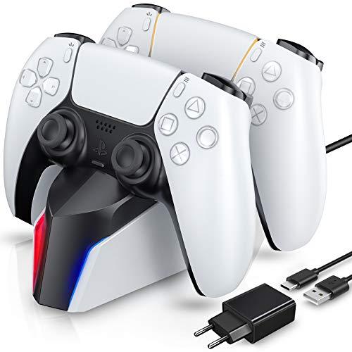 ECHTPower Twin Charge für PS5 Controller Ladestation Ladegerät mit Netzteil für Playstation 5 DualSense Charger mit LED Anzeige und Type-C Kabel für 2 Controller Zubehör für Play Station 5 weiß