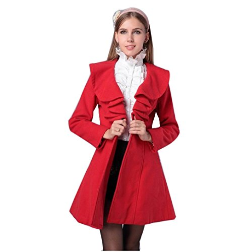Tonsee??? Mode Slim Femmes Chaud Manteau Long Trench Veste Coupe-Vent Parka Outwear Rouge