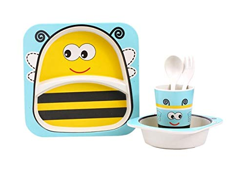 Yuchoi Contemporary Bamboo Fiber Cartoon Animal Dish Children Plate Fork Spoon Cup Set for Kids(Bee) by Yuchoi