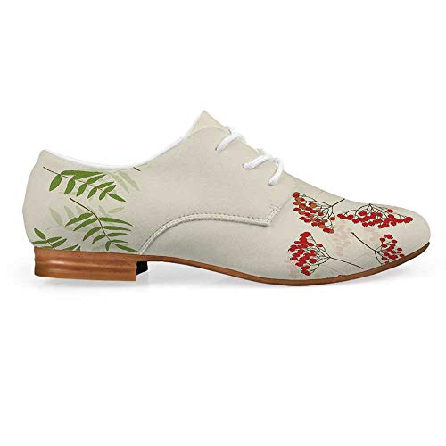 (Rowan Leather Lace up Oxfords Shoes,Graphic Border Design Berries Mountain Ashes Botanical Nature Themed Decorative Bootie for Girls ladis Womens,US 7)