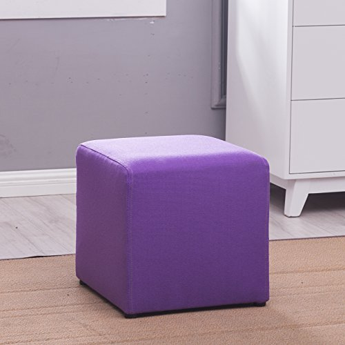 Belleze Modern Cube Ottoman Fabric Upholstered Small Square Stool Foot, Purple (Bench Unit Convertible)