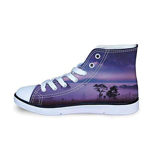 Space Comfortable High Top Canvas Shoes,Milk Way Starry Night in a National Park Thailand Mystical Forest Scenery Picture for Boys,EU33