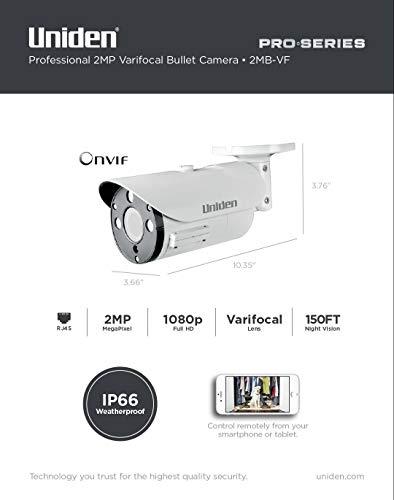 Uniden 1080p Pro Series 2MP IP Security Varifocal Bullet Camera 150' Night Vision 2MB-VF