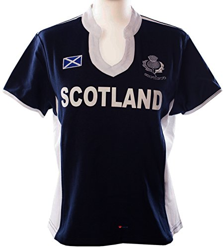 Ladies Scottish Rugby Shirt Short Sleeve Navy White Fashion Collar
