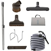 OVO Central Vacuum Cleaning Tools Attachment Kit for Hardwood and Tile Floors and Surfaces with 30 ft.  Switch Control Crushproof Hose and Deluxe 12 Floor Brush.