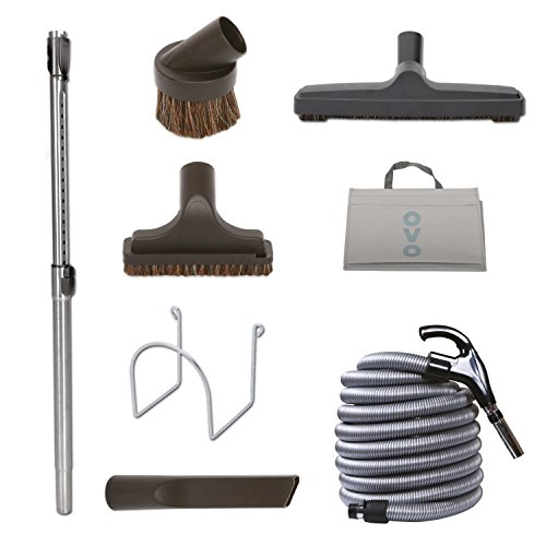 Voltage Hose Low Crushproof - Nadair KIT-LV30D-OVO Central Vacuum Hardwood Floor Brush Cleaning Tools Attachment Kit - Tile Floors and Hard Surfaces - 30 ft. Switch Control Crushproof Hose and Deluxe 12'' Floor Brush, Black & Grey