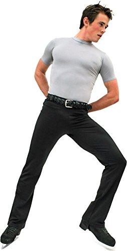 (ChloeNoel M01-2 Elastic Waist Men's Figure Skating Pants Black Adult Small)
