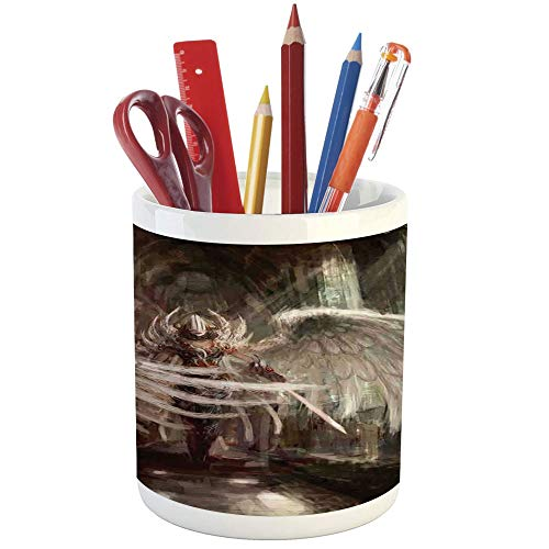 Pencil Pen Holder,Fantasy Decor,Printed Ceramic Pencil Pen Holder for Desk Office Accessory,Cyborg Angel Girl Warrior with Sword in Gothic Ancient Historical Architecture Decorative -