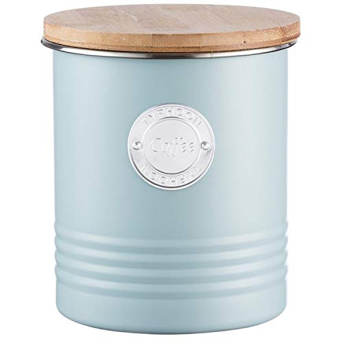Typhoon Living Airtight Coffee Storage Canister with Bamboo Lid, 1 Litre, Blue