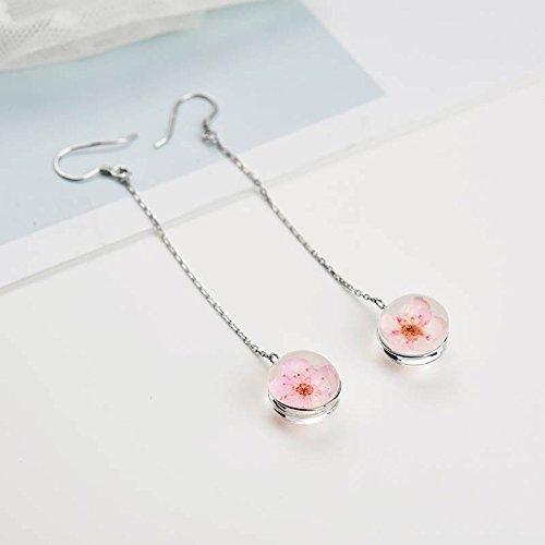 KENHOI Beauty creative glass ball peach flowers dry time gem earrings earings dangler eardrop s925 sterling silver long women girls - Dangler Gem