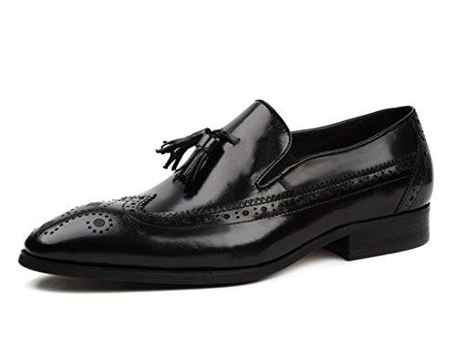 HWF Scarpe Uomo in Pelle Scarpe da uomo in pelle stile inglese Scarpe casual traspiranti Scarpe da lavoro retrò (Colore : Nero, dimensioni : EU37/UK4-4.5) Nero