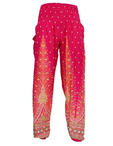KlubKool Women's Smocked Waist Rayon Print Boho Harem Hippie Casual Yoga Pants (Peacock 01 Hot Pink, Size L/XL) ()