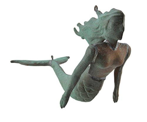 (Zeckos Small Verdigris Finish Stamped Copper Hanging Mermaid Sculpture)