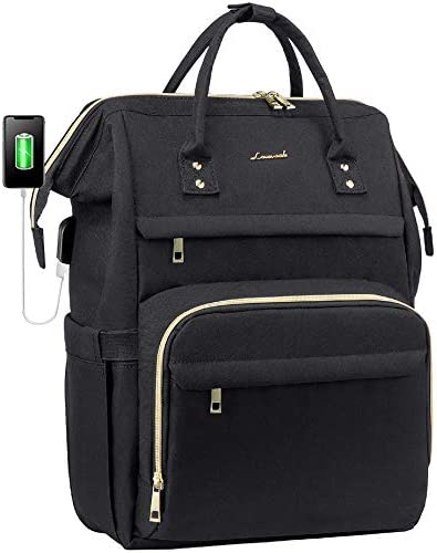 Laptop Backpack Women Teacher Backpack Nurse Bags, 15.6 Inch Womens Work Backpack Purse Waterproof Anti-theft Travel Back Pack with USB Charging Port (Black)