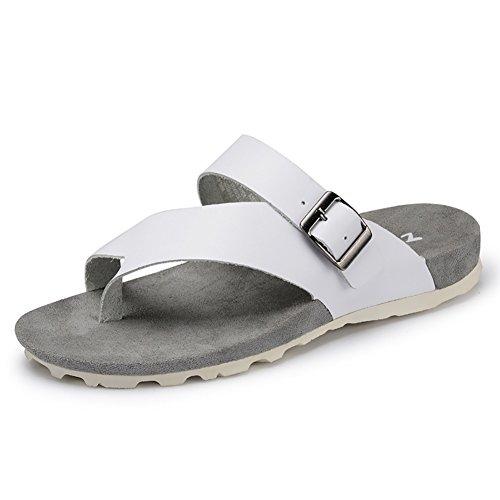 de Leather Soft Slipper Color Blanco Metal Beach Chanclas Tamaño Shoes Zapatos 44 Blanco Sandal Buckle ZJM ocio Man Summer 8qwfFf