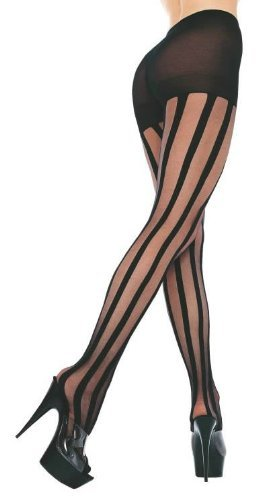 Music Legs Sheer Pantyhose With Stripes Black One Size Fits Most ()