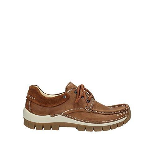 Wolky Komfort Snörning Skor Flyga 20430 Cognac Läder
