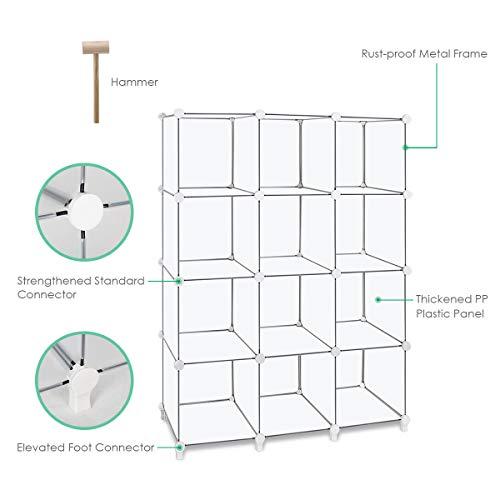 TomCare Cube Storage 12-Cube Book Shelf Storage Shelves Closet Organizer Shelf Cubes Organizer Plastic Bookshelf Bookcase DIY Square Closet Cabinet Shelves for Bedroom Office Living Room, White by TomCare (Image #1)
