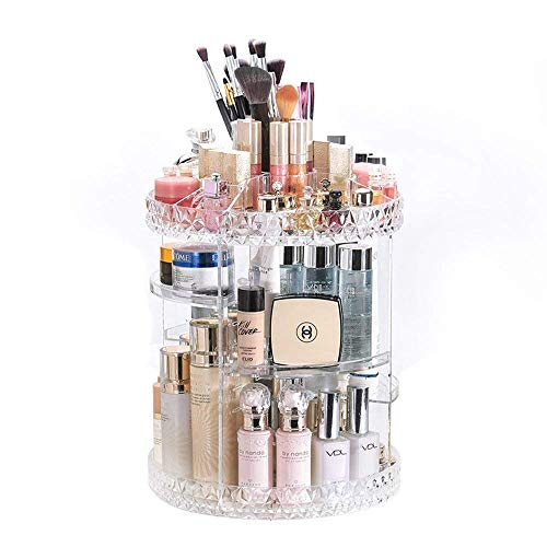 GenePath Makeup Organizer 360 Degree Rotating Adjustable Crystal Clear Transparent Cosmetic Storage Display Box Fits for Lots of Cosmetics and Accessories (Rotate) ()