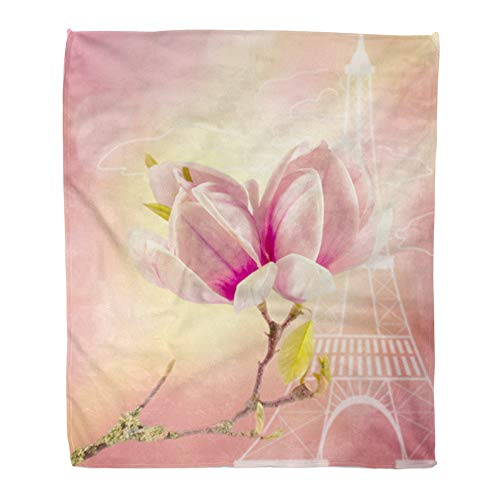 t Warm Cozy Print Flannel Blue The Branch of Blooming Magnolia Against Eiffel Tower Paris France Pink Comfortable Soft for Bed Sofa and Couch 50x60 Inches ()