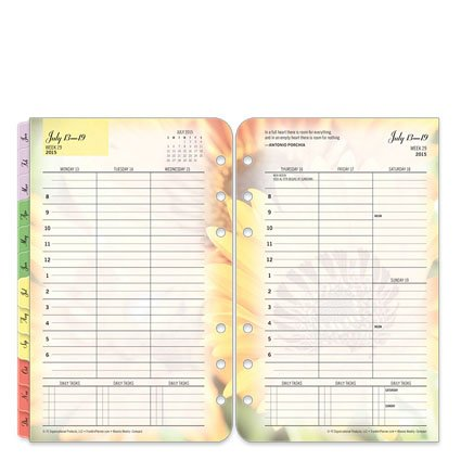 FranklinCovey Compact Blooms Ring-bound Weekly Planner - Jul 2015 - Jun 2016