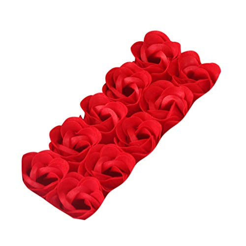 Matoen Valentine's Day Birthday 10 Double Hearted Gold Carton Rose Soap Flowers Scented Bath Body Petal Rose Flower Soap Wedding Decoration Best Gift (Red)