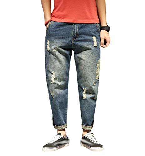Di Casual Strappati Larghi In Con Marca Mode Slim Fit Pantaloni Stil5 Jeans Cono Denim Da Uomo qwnCTHxvH4