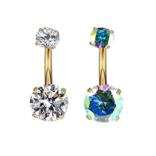HQLA Belly Button Rings 14G Surgical Stainless Steel 5MM 8MM Cubic Zircon Gem for Women Teen Girls 1-2 Pcs A Set (2 Pcs Gold : Clear + AB Color)