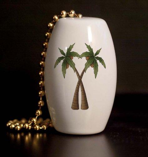 Double Palm Tree Porcelain Fan / Light Pull