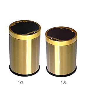 M3M Stainless Steel Automatic Trash Can Round Odor Control System Open Lid Sensor Non-Contact Kitchen Bedroom Outdoor Trash Gold,Gold,10And12l