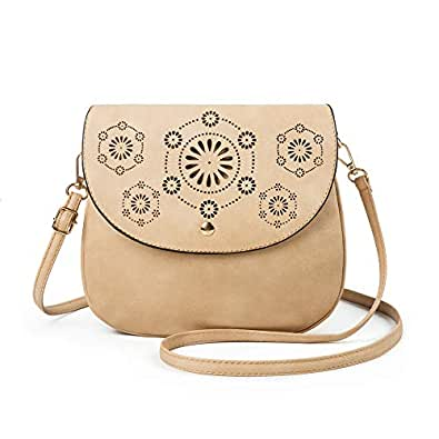ATUPEIY Double Compartment Flapover Crossbody Bags for Women Vintage Leather Bag Shoulder Bag Purse Beige Size: Small