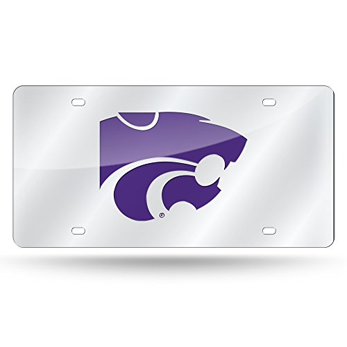 Rico Industries NCAA Kansas State Wildcats Laser Inlaid Metal License Plate Tag, Silver