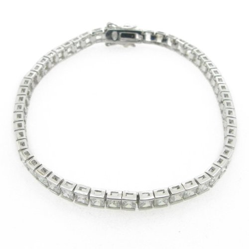 Ladies .925 Italian Sterling Silver princess cut cz tennis bracelet