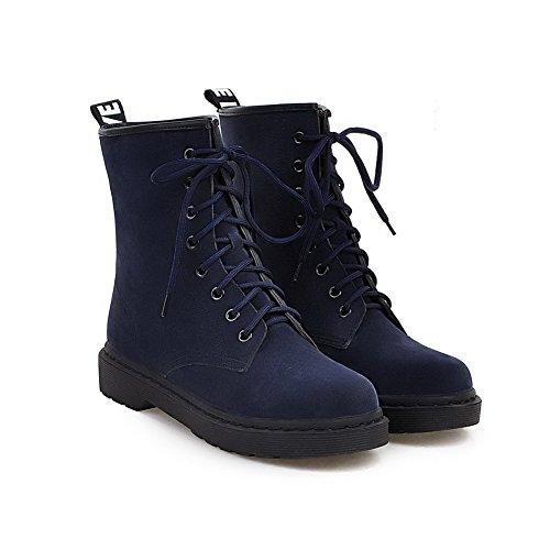 AllhqFashion Damen Niedriger Absatz Niedrig-Spitze Rein Schnüren Stiefel mit Knoten Blau