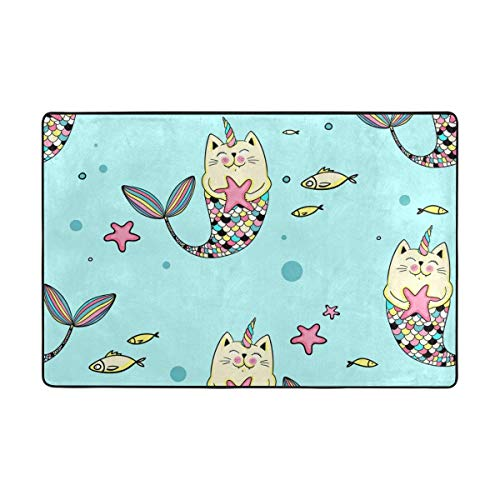 (CANCA Cute Cat Unicorn Animal Cartoon Ocean Sea Fish Area Rug Runner Floor Mat Doormat Carpet Cover Pad for Kids Boys Girls Bedroom Living Room Dining Hall 80x58 inch or 6.7x4.8 Feet)