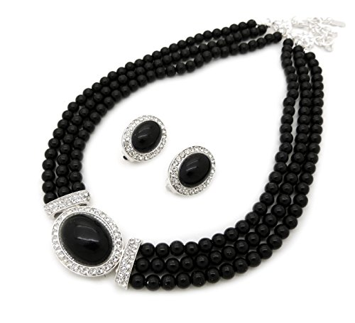 Black Costumes Earrings (Women's 3 Rows Rhinestone Trimmed Simulated Pearl Statement Necklace, Clip on Earrings Set (Black))