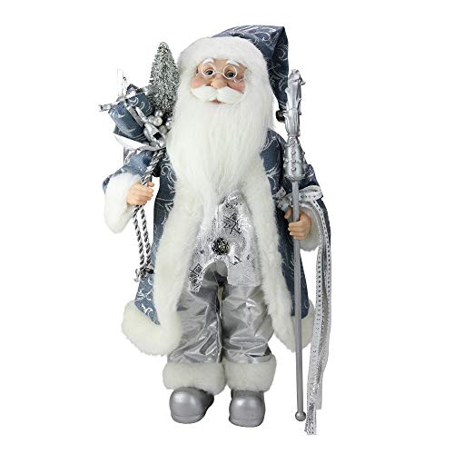 Northlight Ice Palace Standing Santa Claus in Blue/Silver Holding A Staff and Bag Christmas Figure, 16