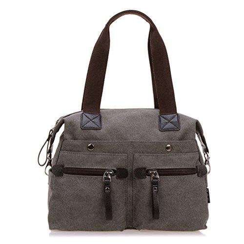 TianHengYi Women's Big Canvas Top Handle Tote Handbag Vintage Weekender Shoulder Bag with Shoulder Strap (Pocket Weekender)