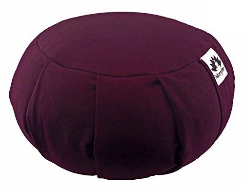 Waterglider International Zafu Yoga Meditation Pillow with USA Buckwheat Fill, Certified Organic Cotton- 6 Colors (Plum)